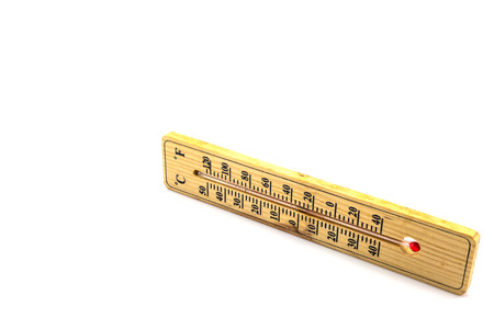 hotter: Wooden thermometer isolated on white background Stock Photo