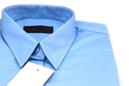 drycleaning: blue shirt isolated on white background