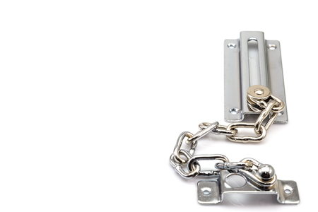 A Part of Stainless steel door chain isolated on white background photo