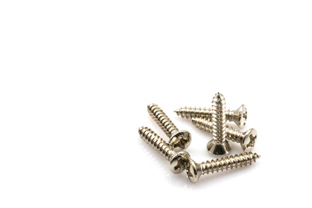 Screws Chrome plated The holder repair materials on white background photo