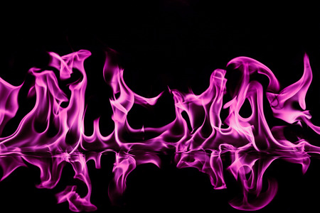 Pink Fire flames on black background