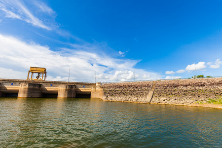 Dam Wall with full of water ,Thailand photo