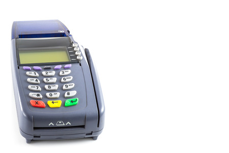 credit card reader machine on white background Reklamní fotografie