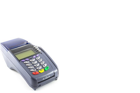card reader: credit card reader machine on white background Stock Photo