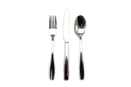Stainless steel fork knife and spoon kitchenware isolated on white background