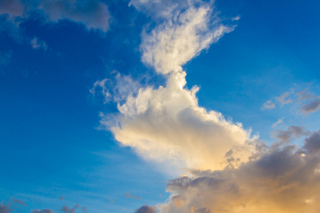 stratus: Blue pink and golden yellow clouds at sunset background