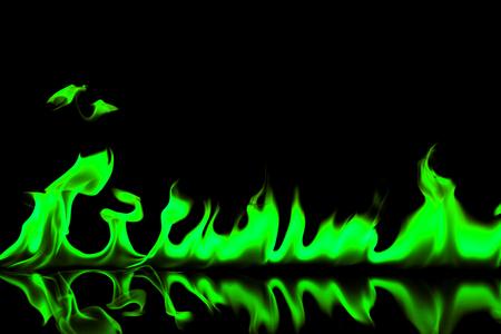 Green fire flames on black background Reklamní fotografie