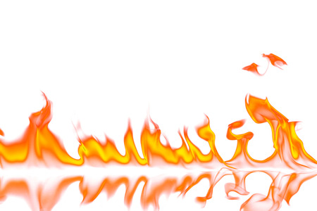 Red and orange fire flames isolated on white background photo