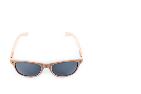 pink sunglasses on white background photo