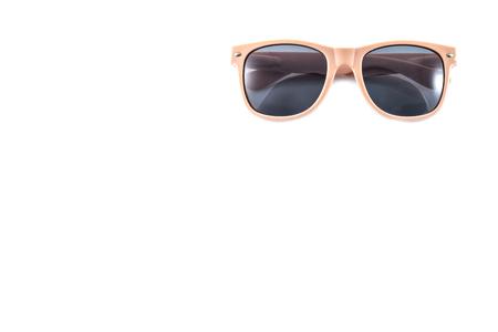 pink sunglasses on white background photo