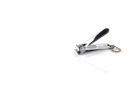 clippers: Stainless steel nail clippers isolated on a white background