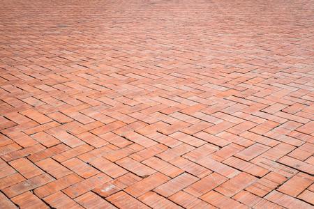 brick floor: Red brick floor texture background Stock Photo