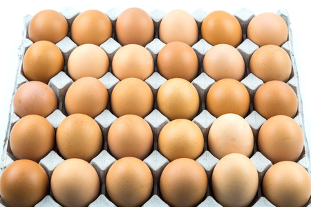 gamme de produit: Fresh Eggs in the package isolated on white background Banque d'images