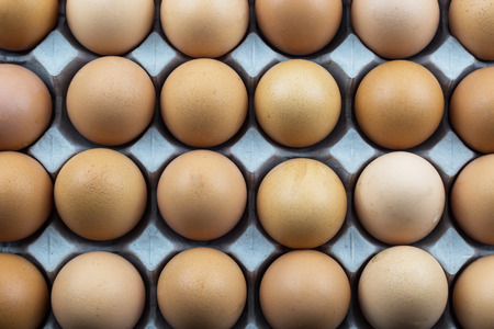 product range: Fresh Eggs in the package isolated on white background Stock Photo
