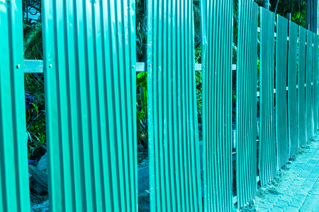 steel sheet: Green fence steel sheet texture background Stock Photo