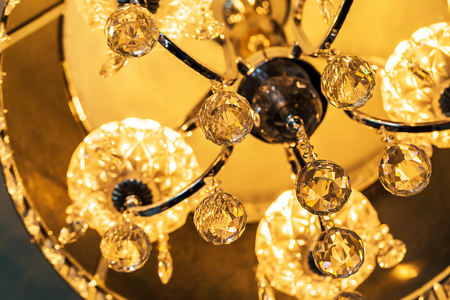 crystal chandelier: beautiful crystal chandelier with reflection and bokeh
