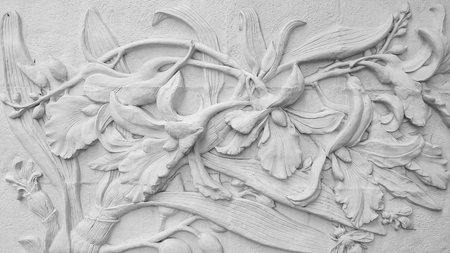 decorative wall: white stone cement orchid stucco on white background