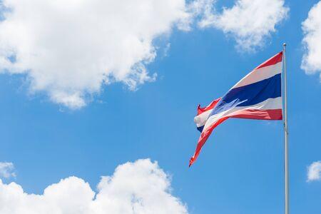 thai flag: Thai flag waving on blue sky background