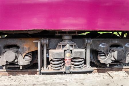 diesel train: closeup wheel break and suspension system of diesel train