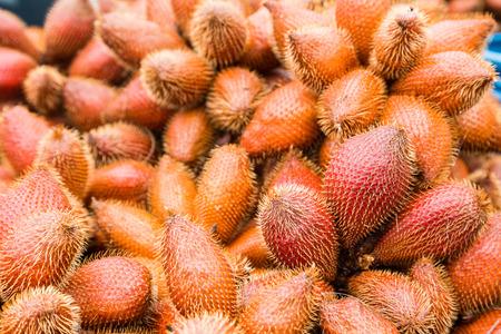 flesh colour: Fresh red Salak fruit, Salacca zalacca nature background