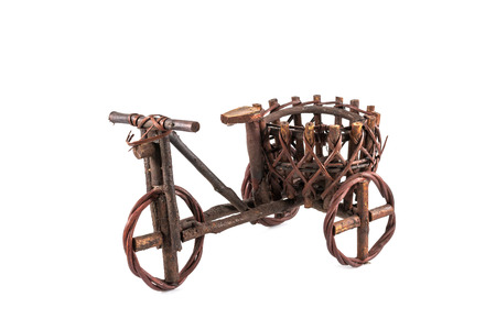 antique tricycle: tricycle cargo bicycle for decoration isolated on white background Stock Photo