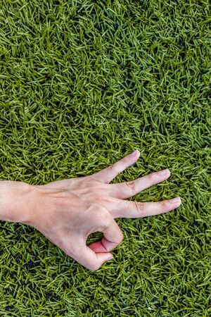 okey: Close-up of Girl hand okey on green grass background