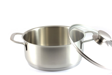 stainless steel pot: Stainless steel pot with glass cover isolated on white background