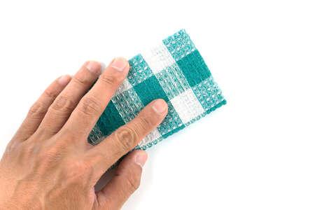 dishtowel: Green Kitchen towel on isolated on white background