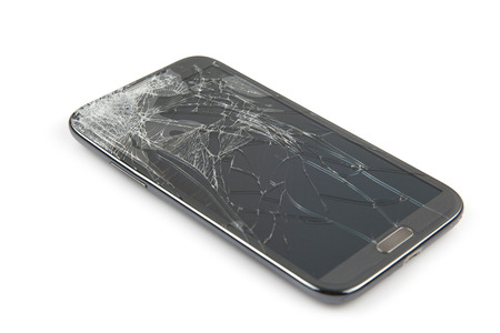 Smartphone drop to the floor and screen damage broken isolated on white background