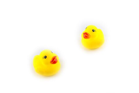 squeaky clean: yellow toy rubber duckling isolated on white background Stock Photo