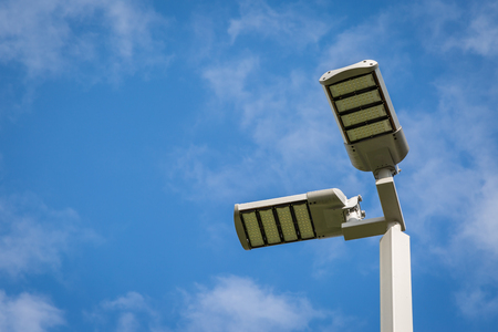 electric avenue: Street Light LED Pole on blue sky background