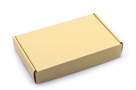 brown box: Brown box cardboard box isolated on white background Stock Photo