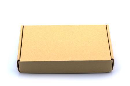 distribution box: Brown box cardboard box isolated on white background Stock Photo