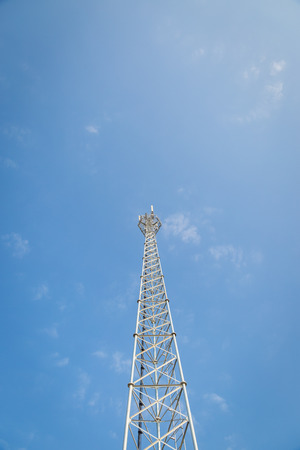 telephone pole: White Telephone pole with clear blue sky background