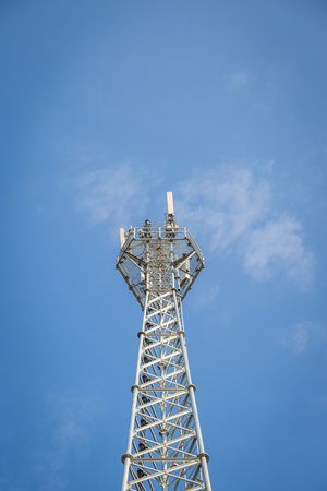 telephone pole: White Telephone pole with clear blue sky background