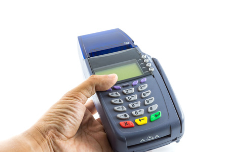 card reader: Hand hold credit card reader machine isolated on white background