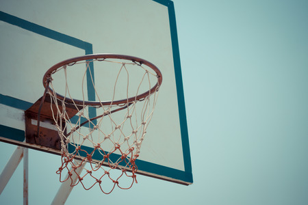 outdoor basketball court: Closeup of basketball hoop background Stock Photo