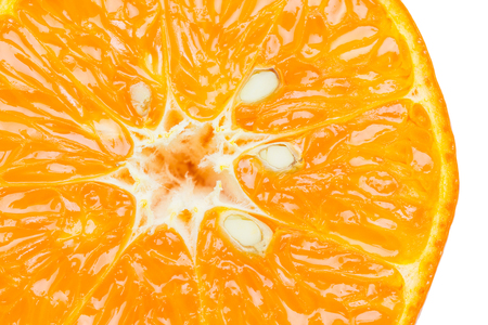 segmento: Rodaja de naranja (mitad) aislada sobre fondo blanco Foto de archivo