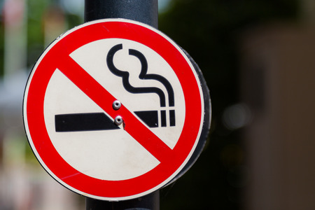 No smoking sign with bokeh background Stock Photo