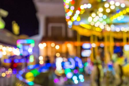 blur of light at carnival festival night market background