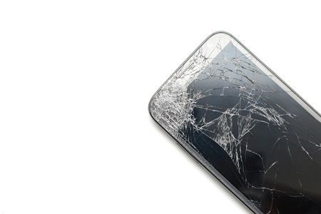 crack screen smart phone isolated on white background