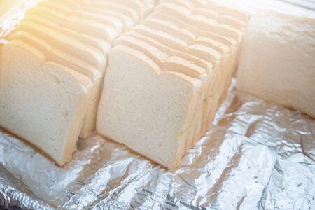 white sheet: Bread sheet on dish breakfast ready to eat Stock Photo