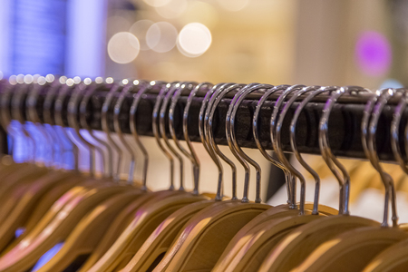 Close up of Clothes rack with bokeh background