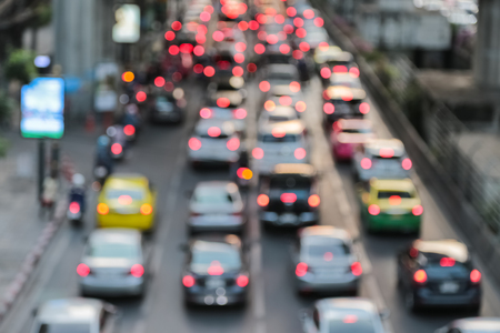 Abstract background blur of traffic jam rush hour in big city business