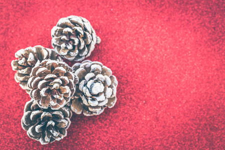 Dried pine balls on red gliter background Banco de Imagens