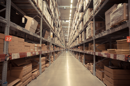 Way to warehouse with stocks of product and goods background Stockfoto
