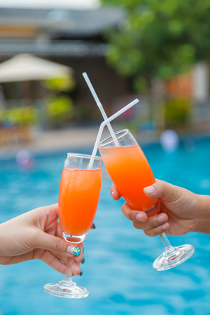 Cocktail party at the pool for celebration meeting background
