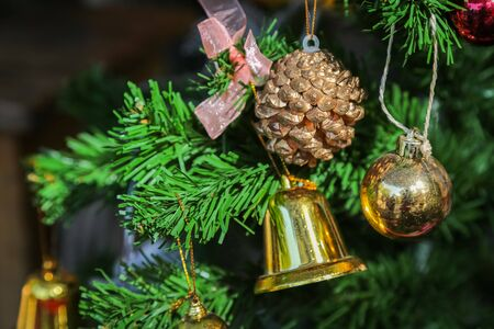 Christmas tree and Decorations for happy moment background