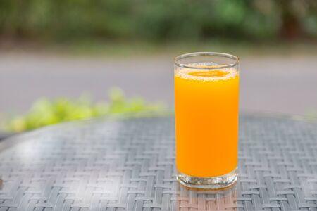 Orange juice with bokeh nature background Stockfoto