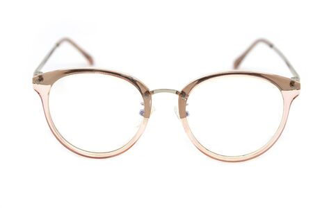 Modern clear pink frame glasses on a white background